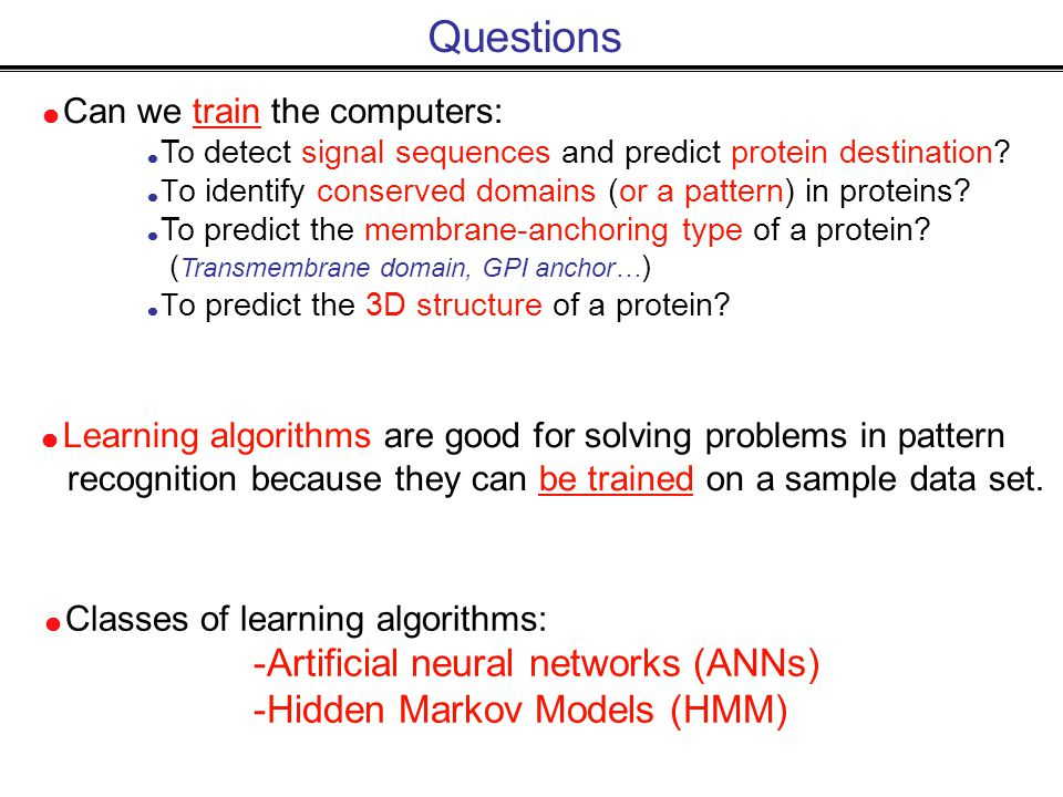  Can we train the computers:  To detect signal sequences and predict protein destination.
