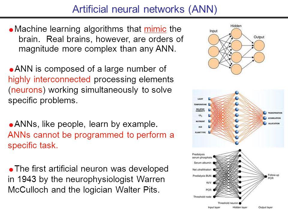 Artificial neural networks (ANN)  Machine learning algorithms that mimic the brain.