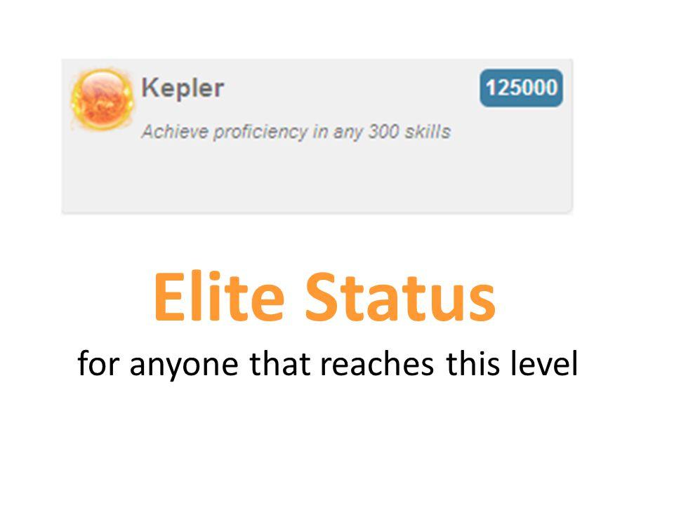Elite Status for anyone that reaches this level