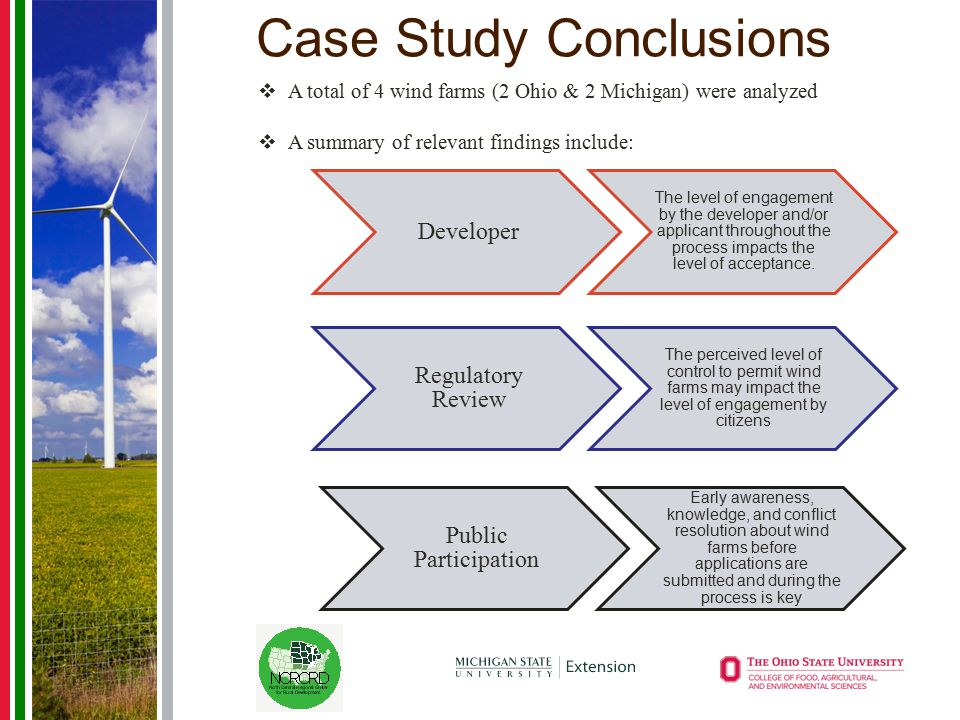 Case Study Conclusions Developer The level of engagement by the developer and/or applicant throughout the process impacts the level of acceptance. Reg