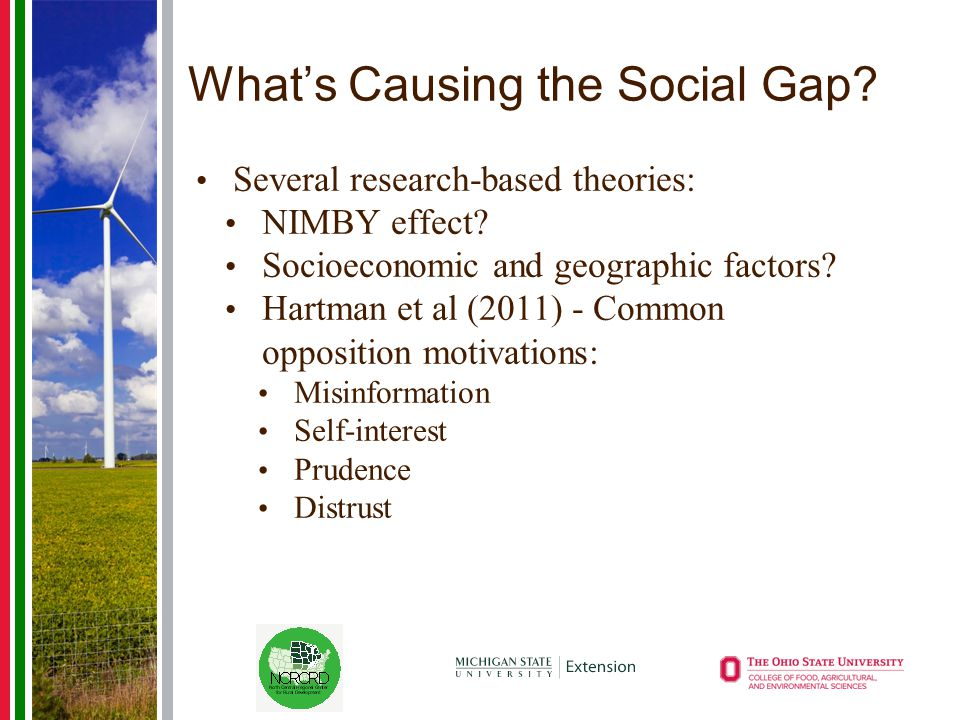 What's Causing the Social Gap? Several research-based theories: NIMBY effect? Socioeconomic and geographic factors? Hartman et al (2011) - Common oppo