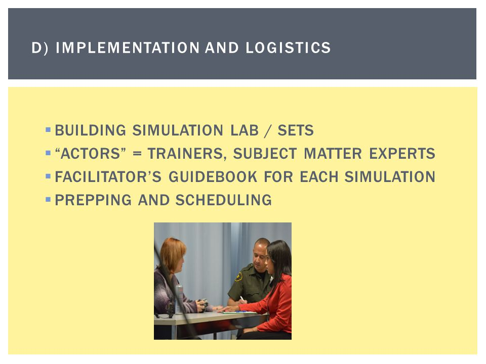 " BUILDING SIMULATION LAB / SETS  ""ACTORS"" = TRAINERS, SUBJECT MATTER EXPERTS  FACILITATOR'S GUIDEBOOK FOR EACH SIMULATION  PREPPING AND SCHEDULING"