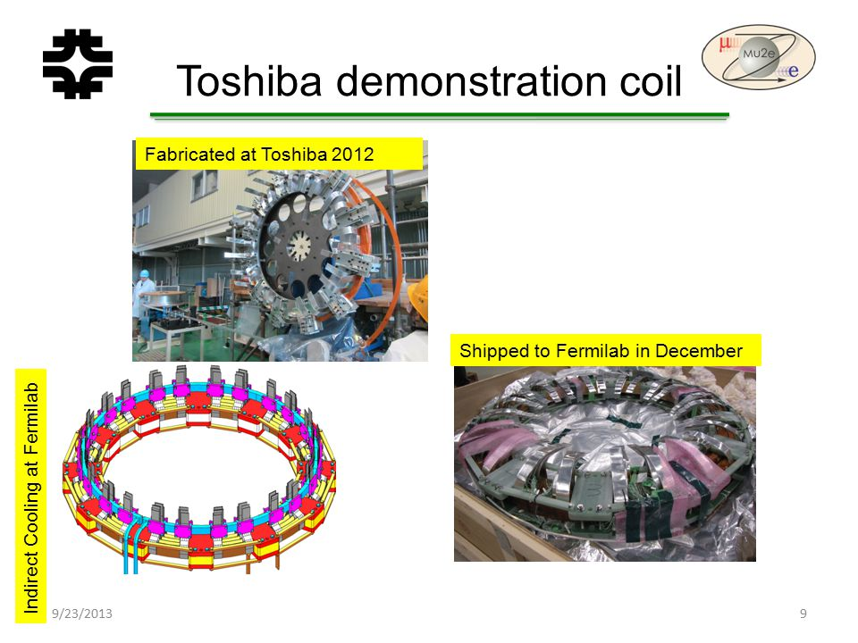 Toshiba demonstration coil 9/23/20139 Fabricated at Toshiba 2012 Shipped to Fermilab in December Indirect Cooling at Fermilab