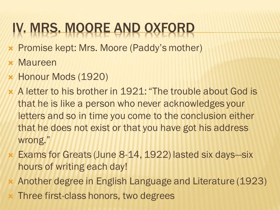  Promise kept: Mrs.