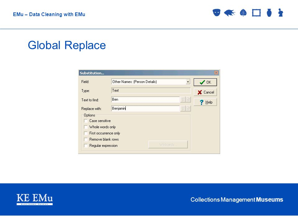 Collections Management Museums EMu – Data Cleaning with EMu Global Replace