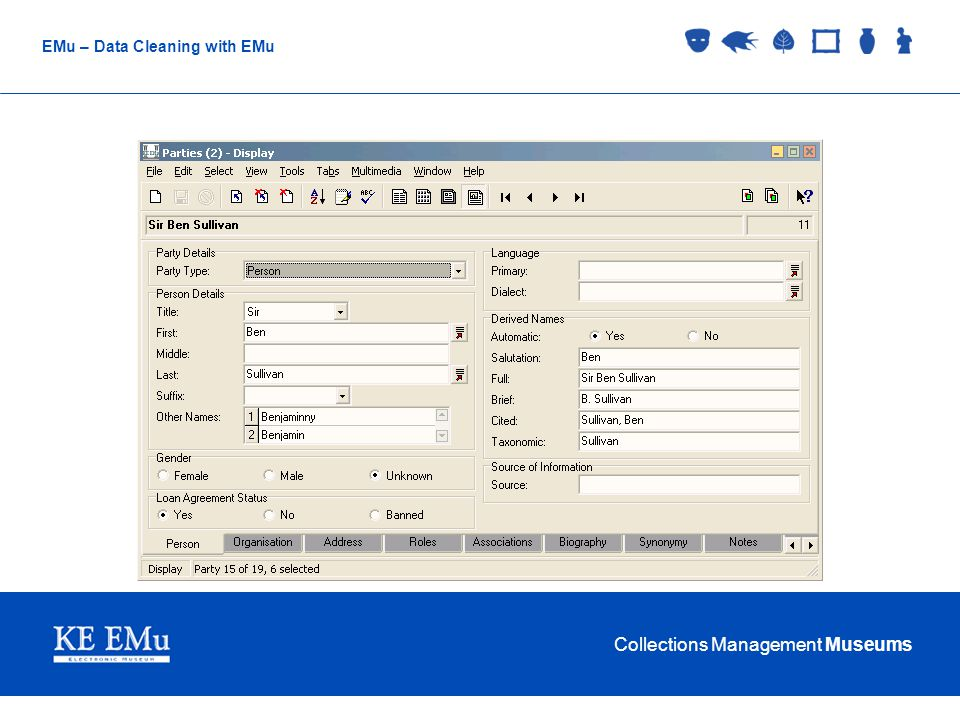 Collections Management Museums EMu – Data Cleaning with EMu