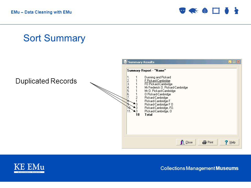 Collections Management Museums EMu – Data Cleaning with EMu Merge