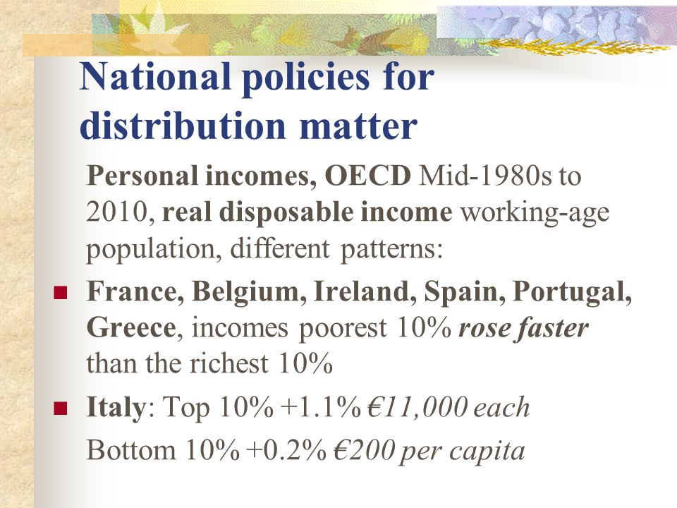 National policies for distribution matter Personal incomes, OECD Mid-1980s to 2010, real disposable income working-age population, different patterns: France, Belgium, Ireland, Spain, Portugal, Greece, incomes poorest 10% rose faster than the richest 10% Italy: Top 10% +1.1% €11,000 each Bottom 10% +0.2% €200 per capita