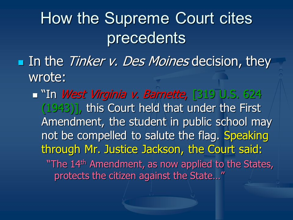 How the Supreme Court cites precedents In the Tinker v.
