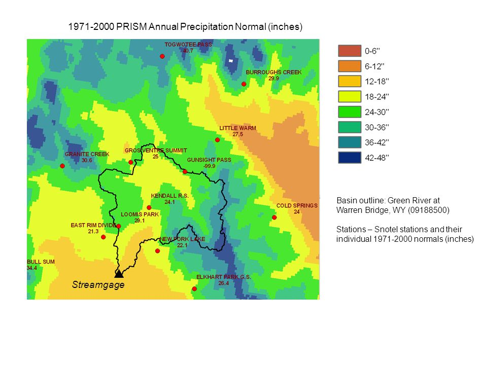 1971-2000 PRISM Annual Precipitation Normal (inches) Basin outline: Green River at Warren Bridge, WY (09188500) Stations – Snotel stations and their i