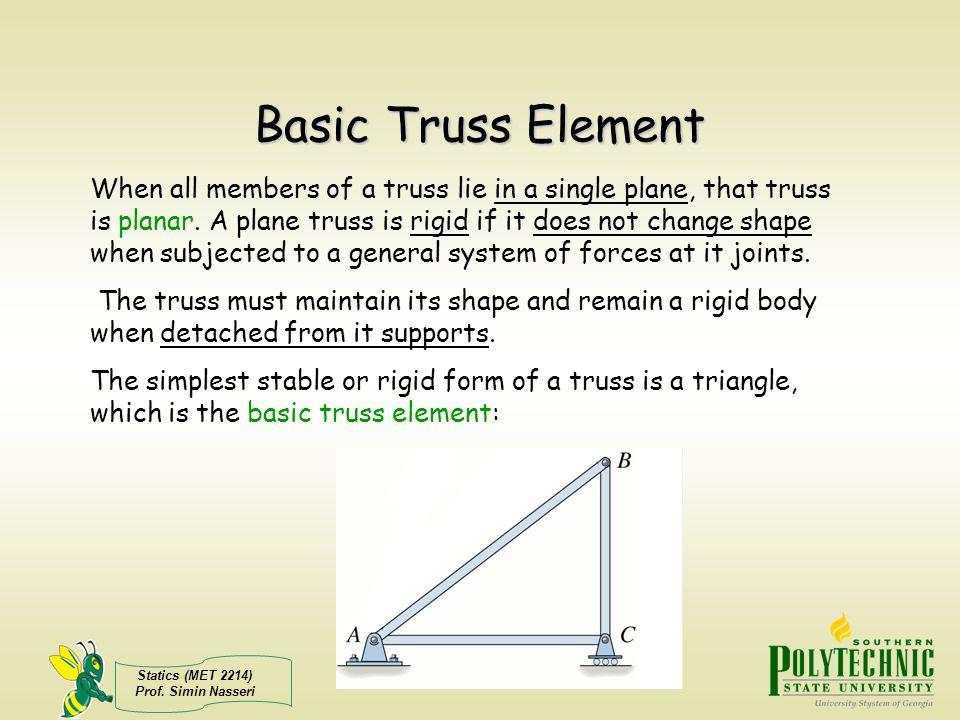 Statics (MET 2214) Prof. Simin Nasseri Basic Truss Element When all members of a truss lie in a single plane, that truss is planar. A plane truss is r