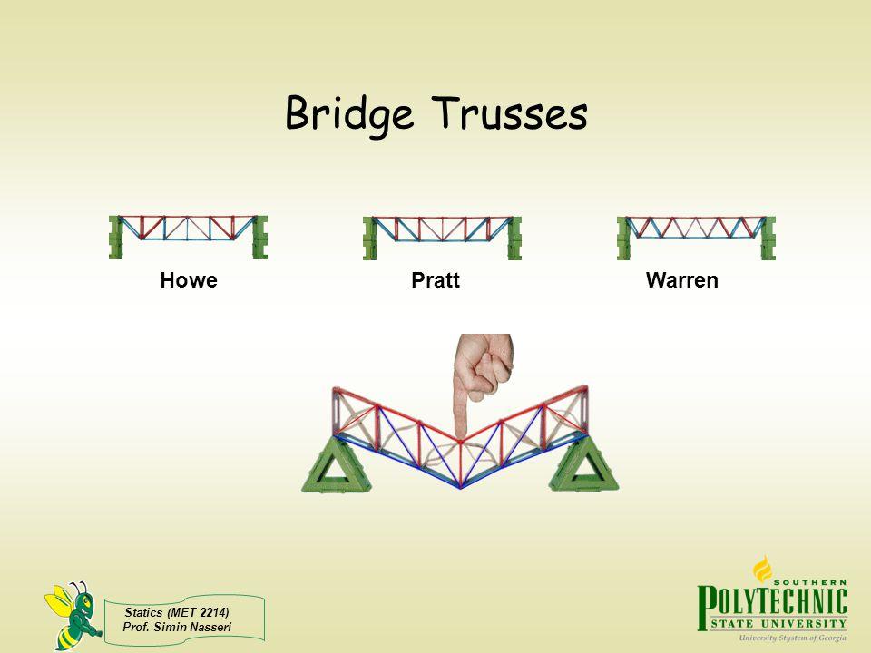 Statics (MET 2214) Prof. Simin Nasseri Bridge Trusses HowePrattWarren