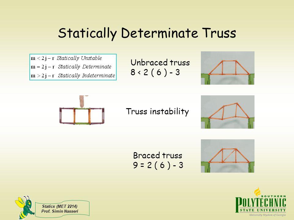 Statics (MET 2214) Prof. Simin Nasseri Statically Determinate Truss Unbraced truss 8 < 2 ( 6 ) - 3 Braced truss 9 = 2 ( 6 ) - 3 Truss instability