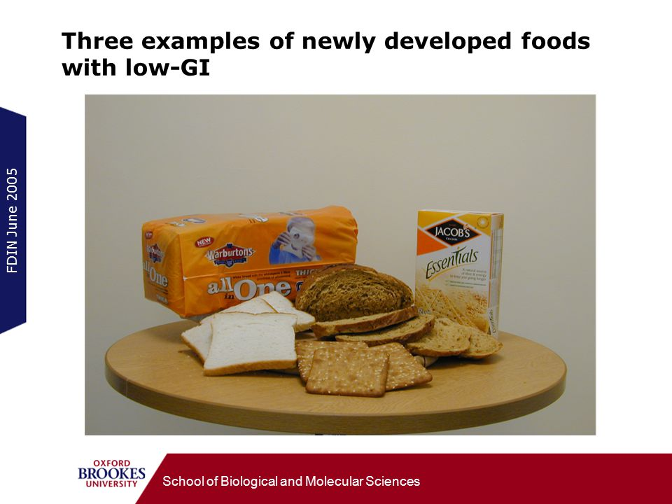 FDIN June 2005 School of Biological and Molecular Sciences Three examples of newly developed foods with low-GI