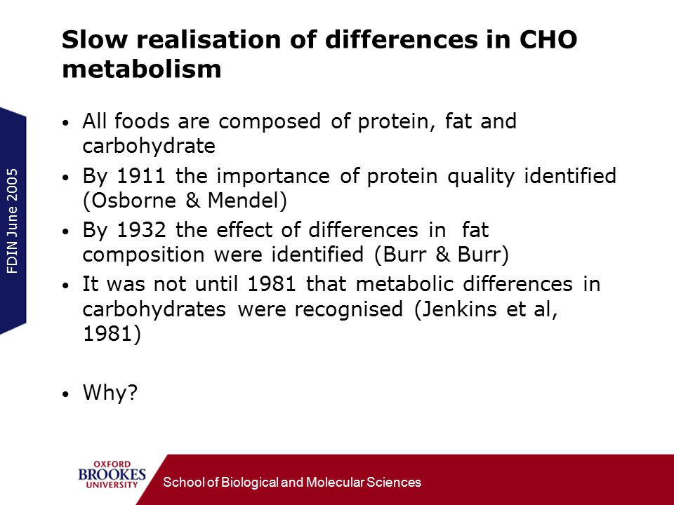 FDIN June 2005 School of Biological and Molecular Sciences Slow realisation of differences in CHO metabolism All foods are composed of protein, fat and carbohydrate By 1911 the importance of protein quality identified (Osborne & Mendel) By 1932 the effect of differences in fat composition were identified (Burr & Burr) It was not until 1981 that metabolic differences in carbohydrates were recognised (Jenkins et al, 1981) Why