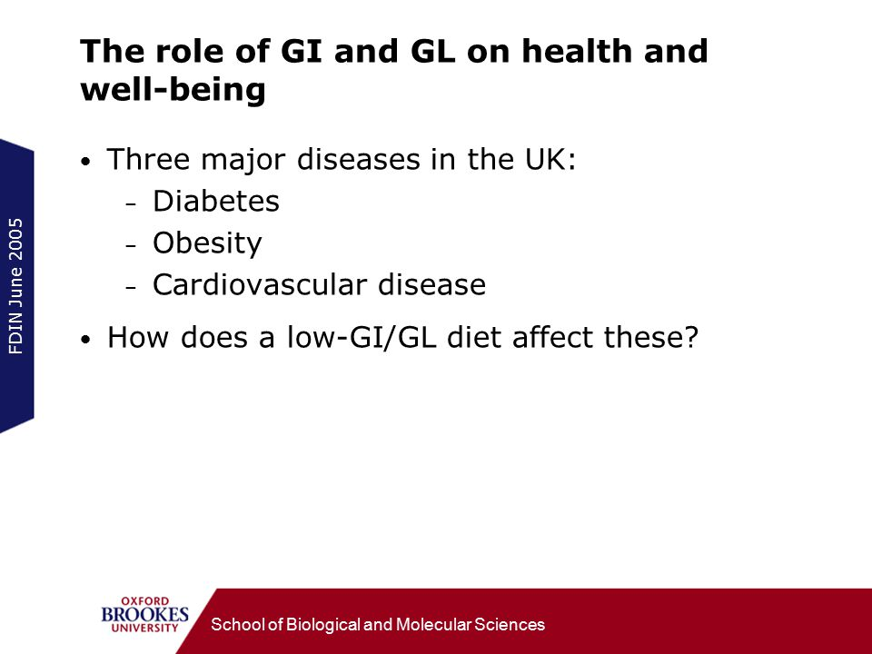 FDIN June 2005 School of Biological and Molecular Sciences The role of GI and GL on health and well-being Three major diseases in the UK: – Diabetes – Obesity – Cardiovascular disease How does a low-GI/GL diet affect these