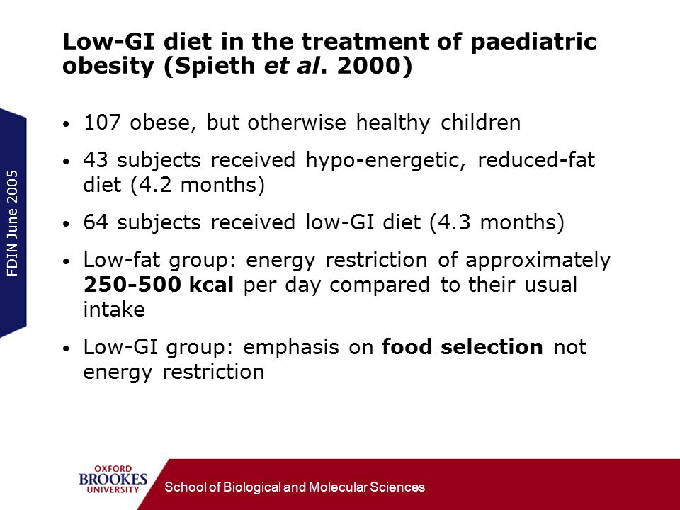 FDIN June 2005 School of Biological and Molecular Sciences Low-GI diet in the treatment of paediatric obesity (Spieth et al.