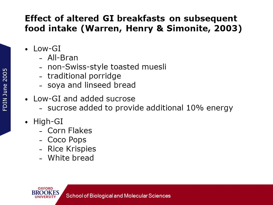 FDIN June 2005 School of Biological and Molecular Sciences Effect of altered GI breakfasts on subsequent food intake (Warren, Henry & Simonite, 2003) Low-GI – All-Bran – non-Swiss-style toasted muesli – traditional porridge – soya and linseed bread Low-GI and added sucrose – sucrose added to provide additional 10% energy High-GI – Corn Flakes – Coco Pops – Rice Krispies – White bread