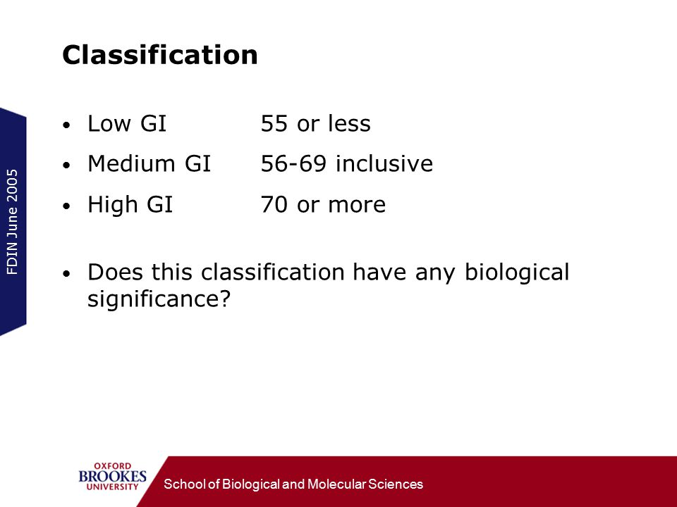 FDIN June 2005 School of Biological and Molecular Sciences Classification Low GI 55 or less Medium GI56-69 inclusive High GI70 or more Does this class