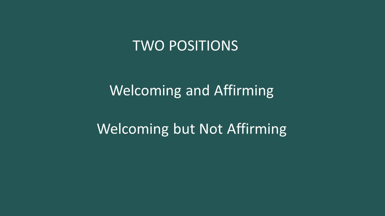 TWO POSITIONS Welcoming and Affirming Welcoming but Not Affirming