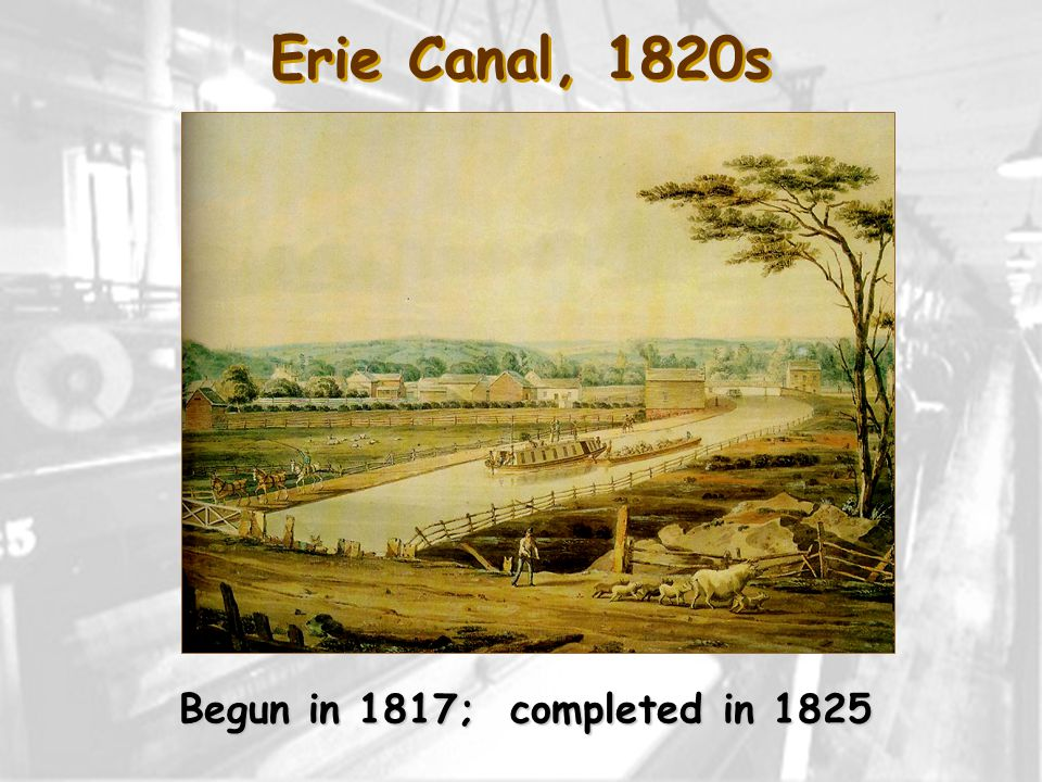 Erie Canal, 1820s Begun in 1817; completed in 1825