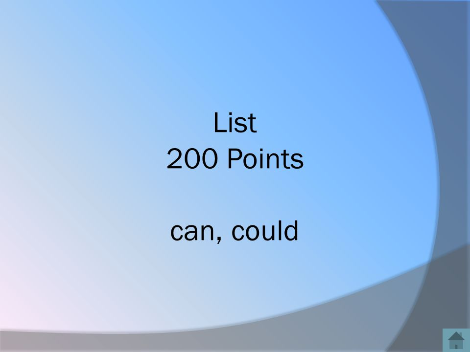List 200 Points can, could
