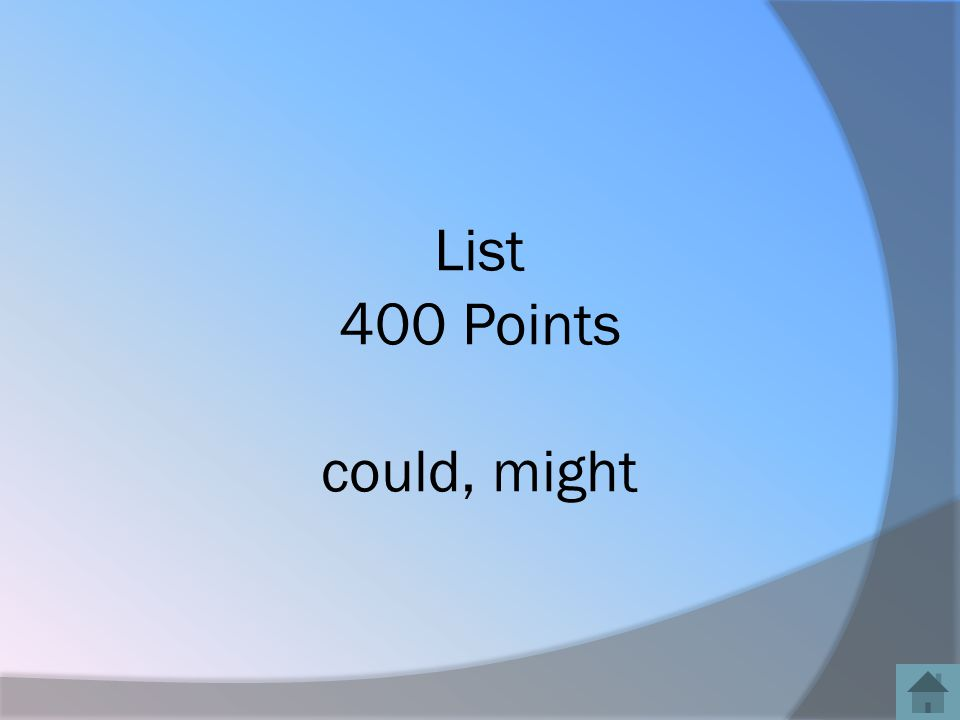 List 400 Points could, might