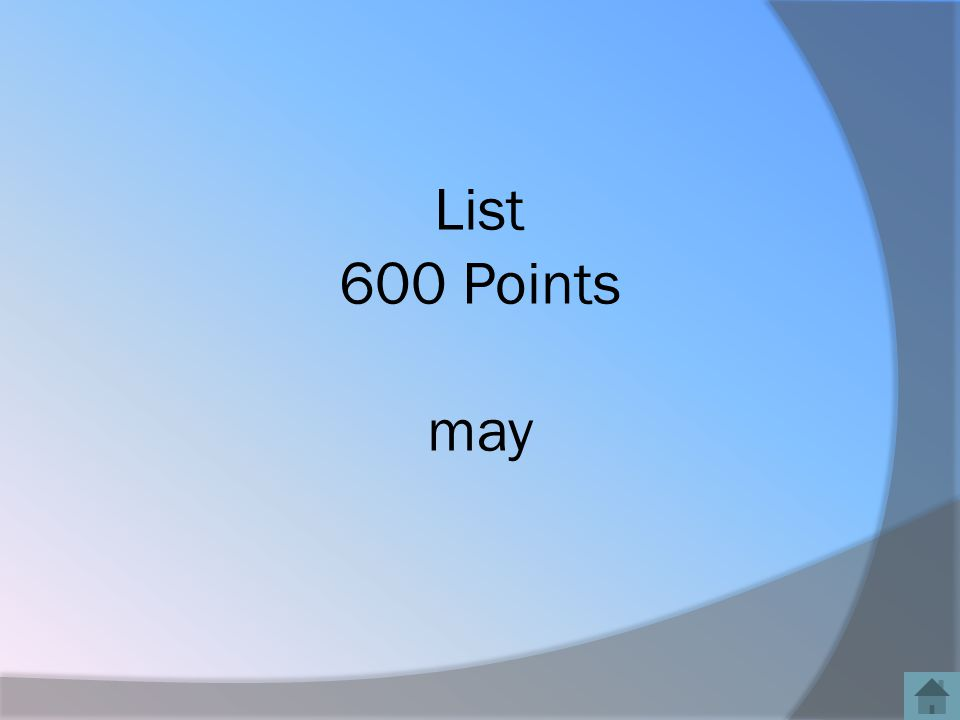 List 600 Points may