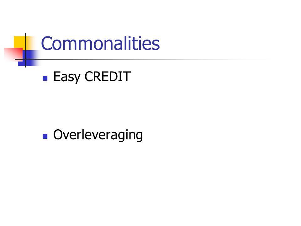 Commonalities Easy CREDIT Overleveraging