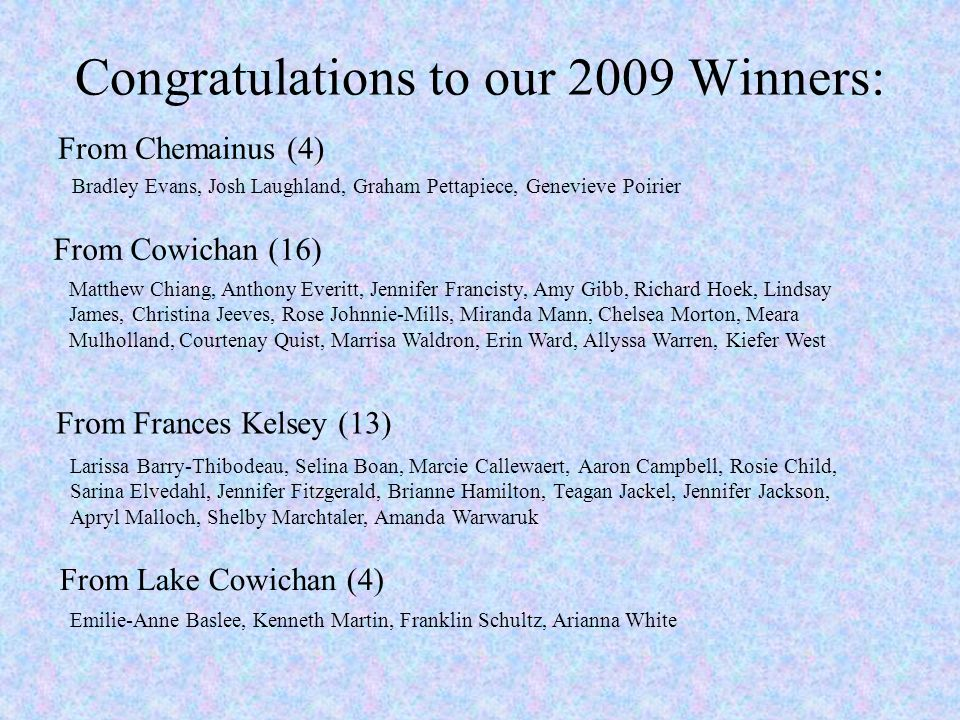 Congratulations to our 2009 Winners: From Frances Kelsey (13) Larissa Barry-Thibodeau, Selina Boan, Marcie Callewaert, Aaron Campbell, Rosie Child, Sarina Elvedahl, Jennifer Fitzgerald, Brianne Hamilton, Teagan Jackel, Jennifer Jackson, Apryl Malloch, Shelby Marchtaler, Amanda Warwaruk From Chemainus (4) From Cowichan (16) From Lake Cowichan (4) Emilie-Anne Baslee, Kenneth Martin, Franklin Schultz, Arianna White Bradley Evans, Josh Laughland, Graham Pettapiece, Genevieve Poirier Matthew Chiang, Anthony Everitt, Jennifer Francisty, Amy Gibb, Richard Hoek, Lindsay James, Christina Jeeves, Rose Johnnie-Mills, Miranda Mann, Chelsea Morton, Meara Mulholland, Courtenay Quist, Marrisa Waldron, Erin Ward, Allyssa Warren, Kiefer West