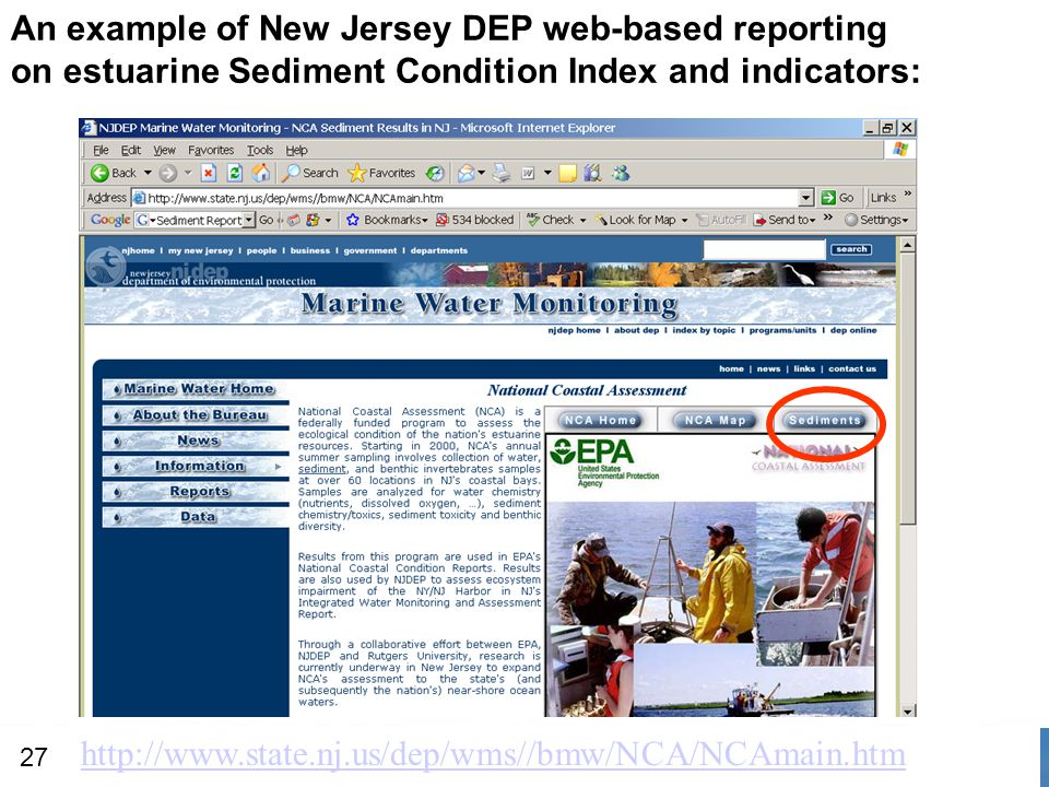 An example of New Jersey DEP web-based reporting on estuarine Sediment Condition Index and indicators: http://www.state.nj.us/dep/wms//bmw/NCA/NCAmain.htm 27
