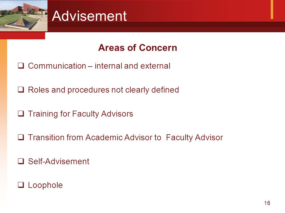 16 Advisement  Communication – internal and external  Roles and procedures not clearly defined  Training for Faculty Advisors  Transition from Academic Advisor to Faculty Advisor  Self-Advisement  Loophole Areas of Concern