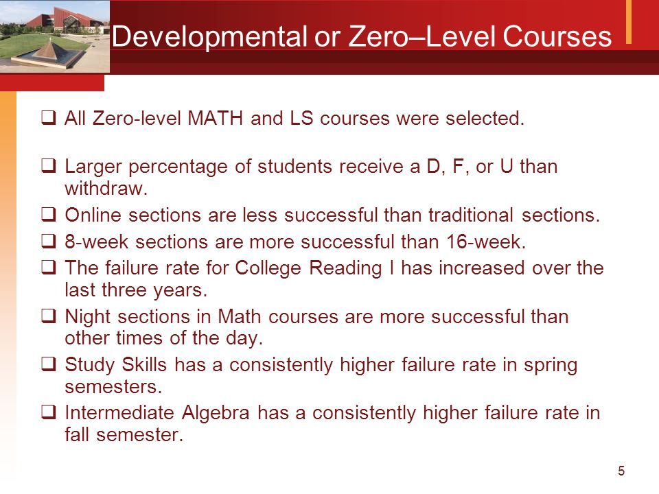 5 Developmental or Zero–Level Courses  All Zero-level MATH and LS courses were selected.