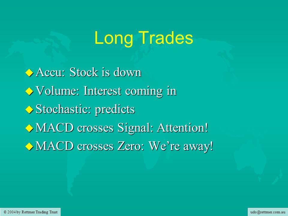 udo@rettmer.com.au © 2004 by Rettmer Trading Trust Long Trades u Accu: Stock is down u Volume: Interest coming in u Stochastic: predicts u MACD crosses Signal: Attention.