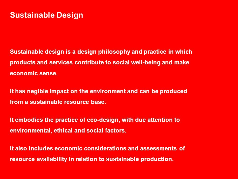 Why Sustainable Design.