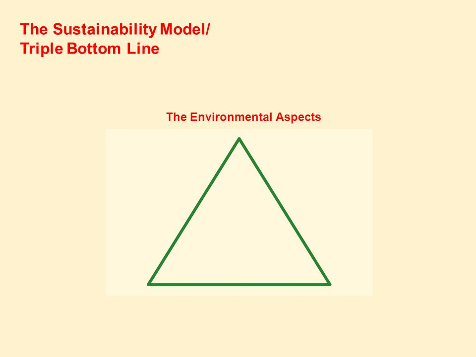 The Sustainability Model/ Triple Bottom Line The Environmental Aspects