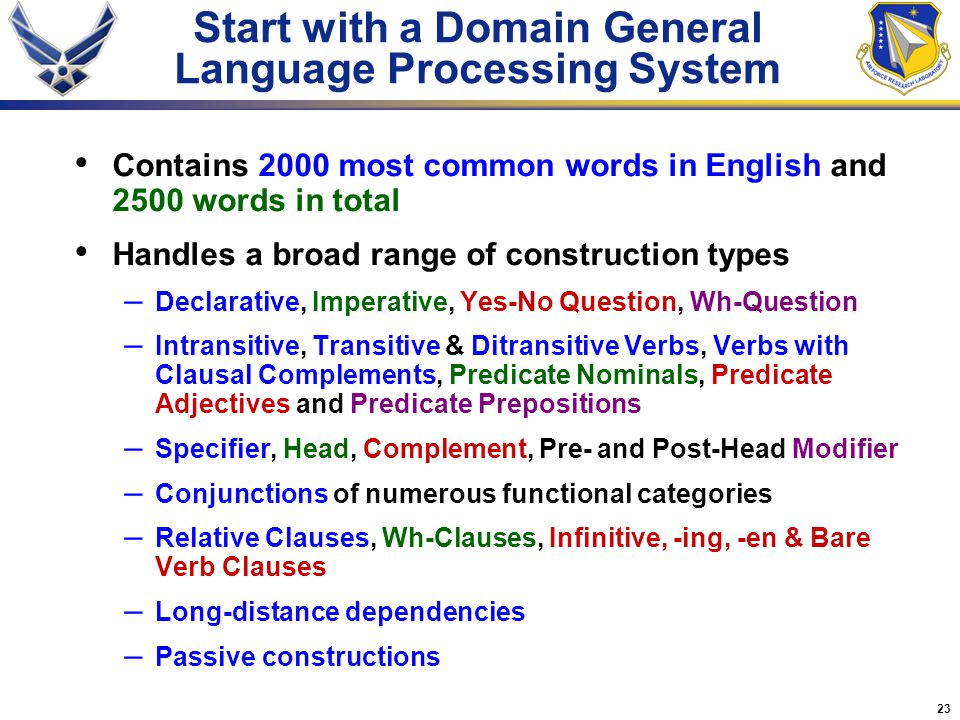 23 Start with a Domain General Language Processing System Contains 2000 most common words in English and 2500 words in total Handles a broad range of
