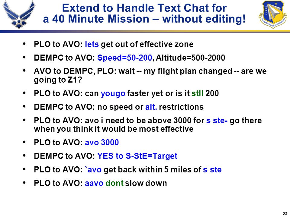 28 Extend to Handle Text Chat for a 40 Minute Mission – without editing! PLO to AVO: lets get out of effective zone DEMPC to AVO: Speed=50-200, Altitu