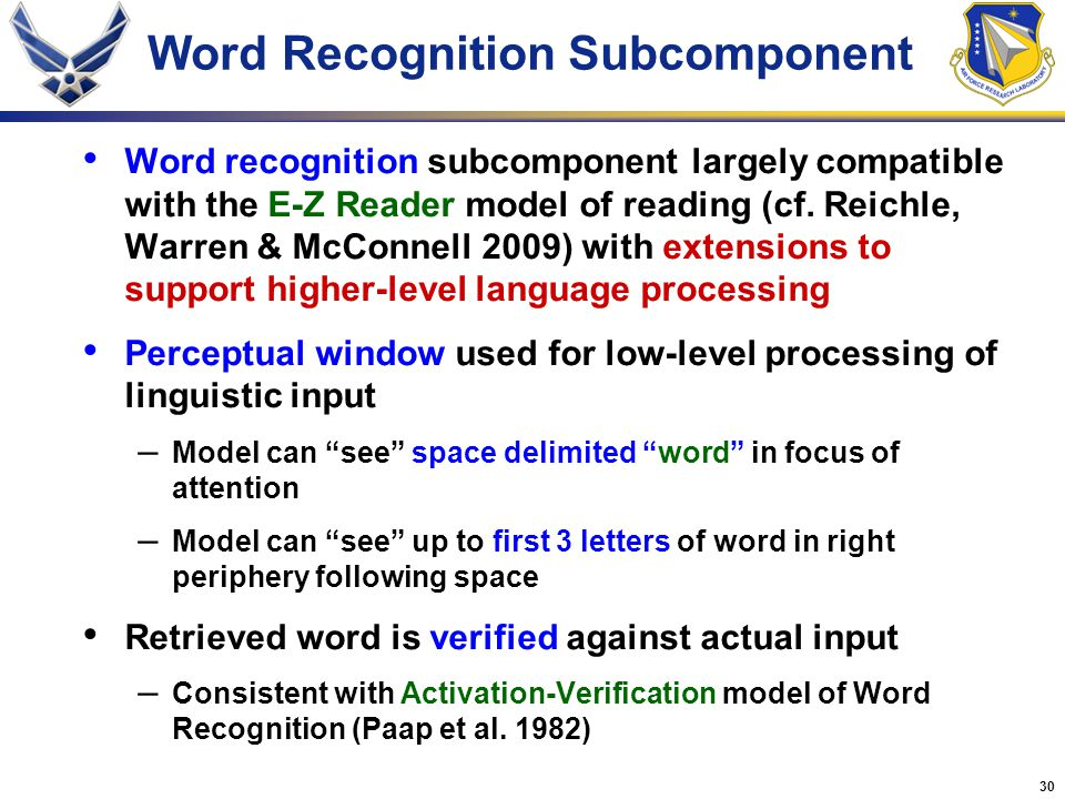 30 Word Recognition Subcomponent Word recognition subcomponent largely compatible with the E-Z Reader model of reading (cf. Reichle, Warren & McConnel