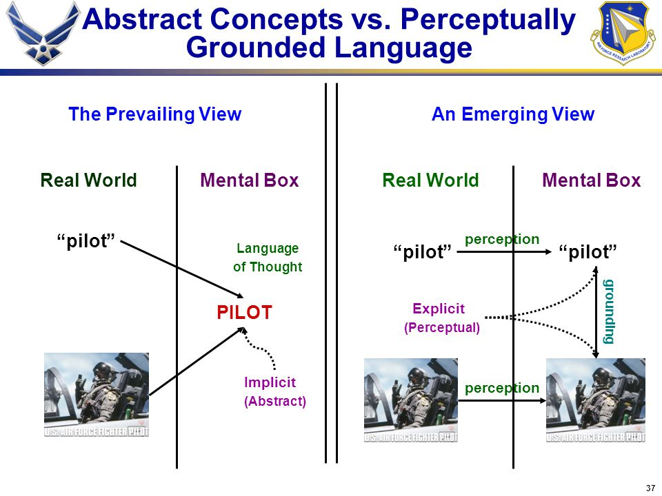 "37 Abstract Concepts vs. Perceptually Grounded Language ""pilot"" PILOT Real WorldMental Box Real World perception Language of Thought The Prevailing Vi"