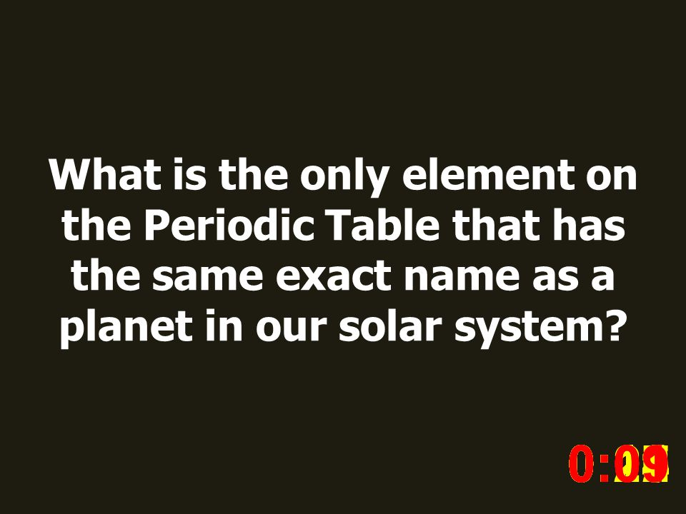 What is the only element on the Periodic Table that has the same exact name as a planet in our solar system.