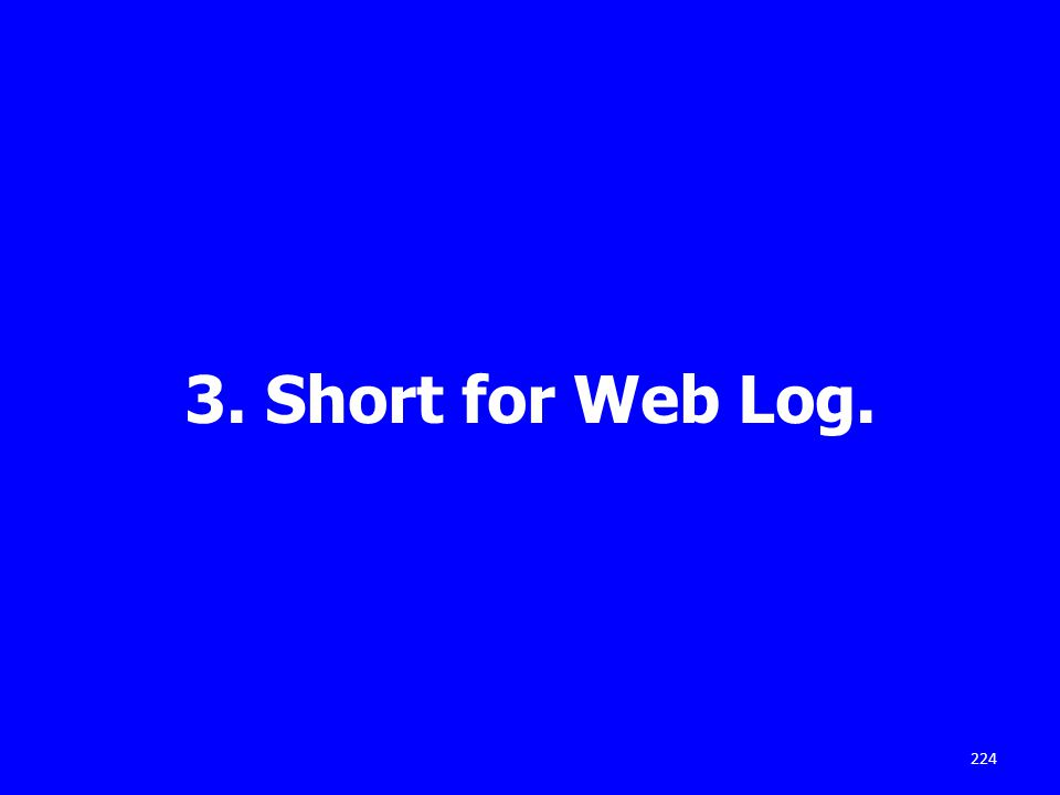 3. Short for Web Log. 224