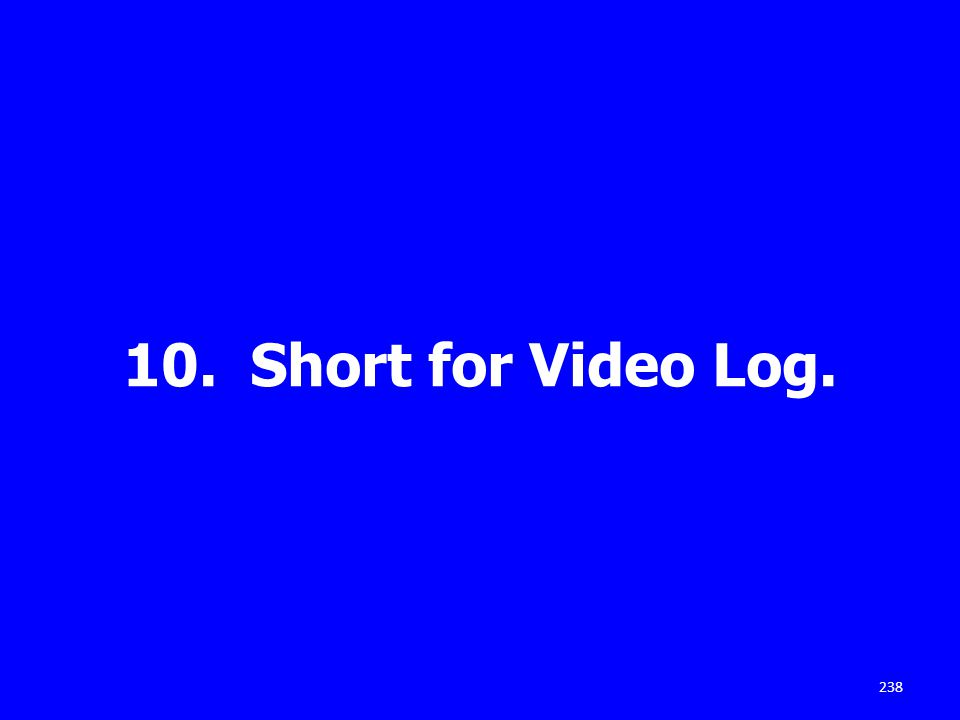 10. Short for Video Log. 238