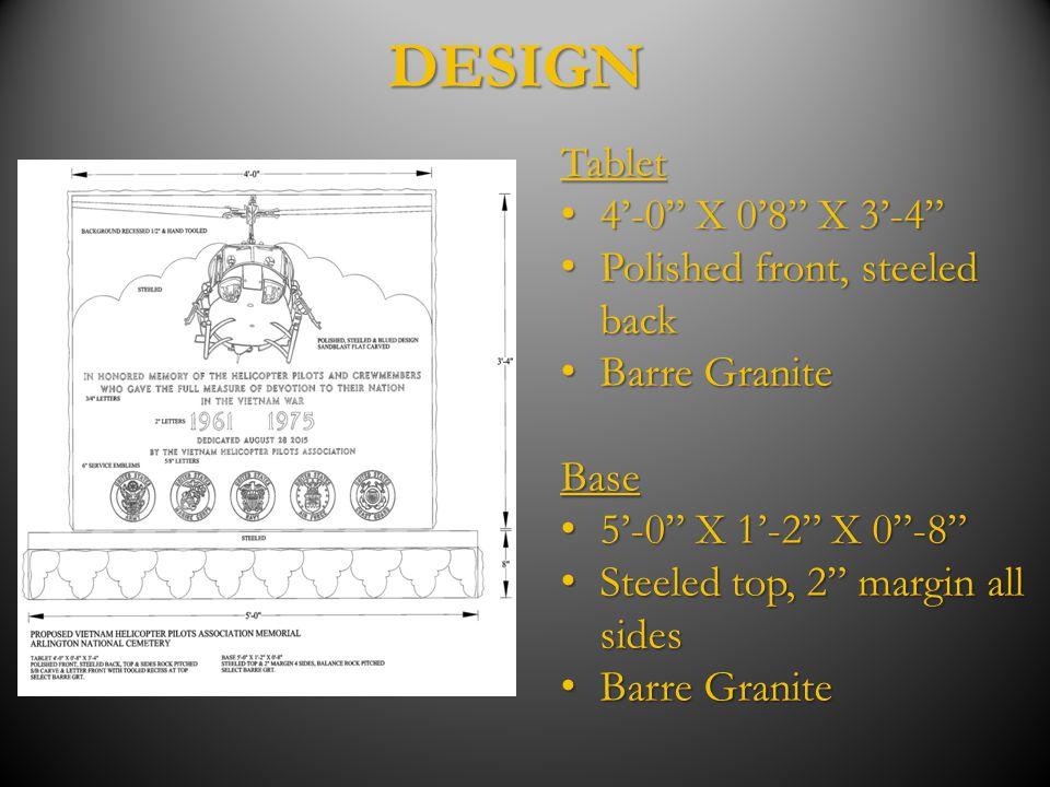 """DESIGNTablet 4'-0"""" X 0'8"""" X 3'-4"""" 4'-0"""" X 0'8"""" X 3'-4"""" Polished front, steeled back Polished front, steeled back Barre Granite Barre GraniteBase 5'-0"""""""