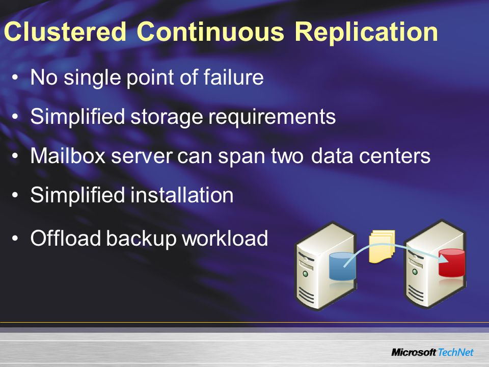 Clustered Continuous Replication No single point of failure Simplified storage requirements Mailbox server can span two data centers Simplified instal