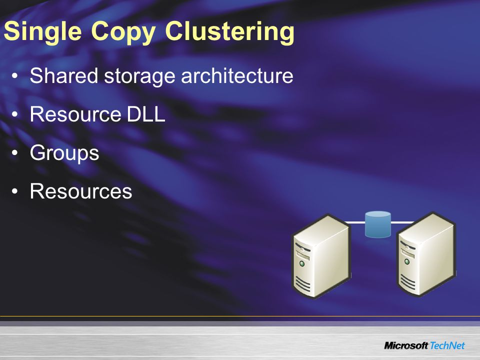 Single Copy Clustering Shared storage architecture Resource DLL Groups Resources