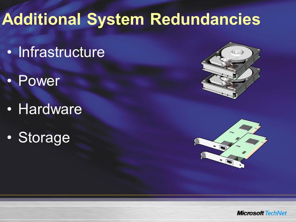 Additional System Redundancies Infrastructure Power Hardware Storage