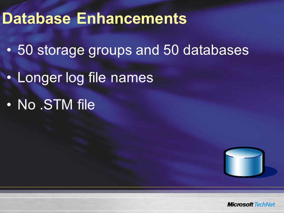 Database Enhancements 50 storage groups and 50 databases Longer log file names No.STM file