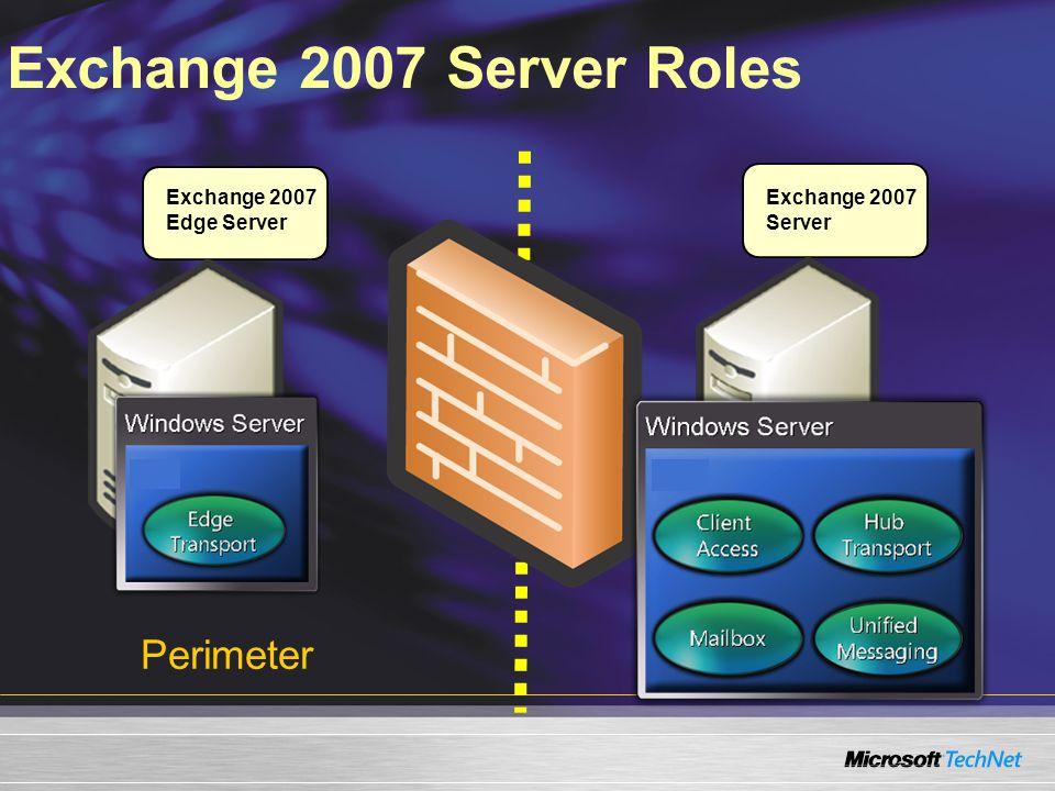 Exchange 2007 Server Roles Perimeter Exchange 2007 Edge Server Intranet Exchange 2007 Server