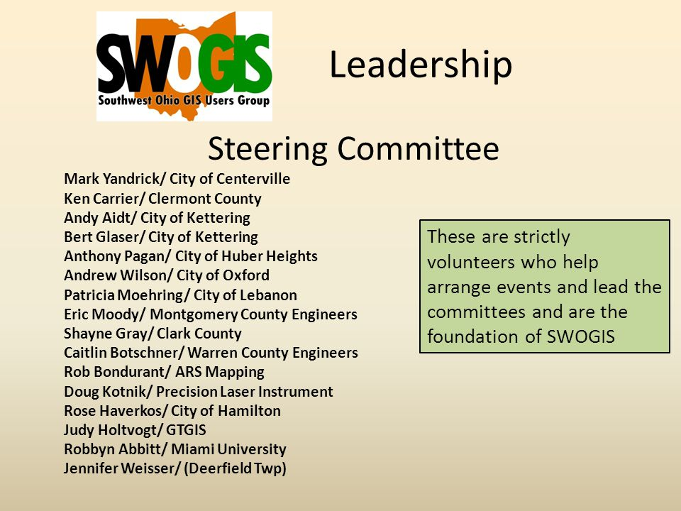 Leadership Steering Committee Mark Yandrick/ City of Centerville Ken Carrier/ Clermont County Andy Aidt/ City of Kettering Bert Glaser/ City of Kettering Anthony Pagan/ City of Huber Heights Andrew Wilson/ City of Oxford Patricia Moehring/ City of Lebanon Eric Moody/ Montgomery County Engineers Shayne Gray/ Clark County Caitlin Botschner/ Warren County Engineers Rob Bondurant/ ARS Mapping Doug Kotnik/ Precision Laser Instrument Rose Haverkos/ City of Hamilton Judy Holtvogt/ GTGIS Robbyn Abbitt/ Miami University Jennifer Weisser/ (Deerfield Twp) These are strictly volunteers who help arrange events and lead the committees and are the foundation of SWOGIS